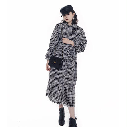 tweed fringe long gown coat
