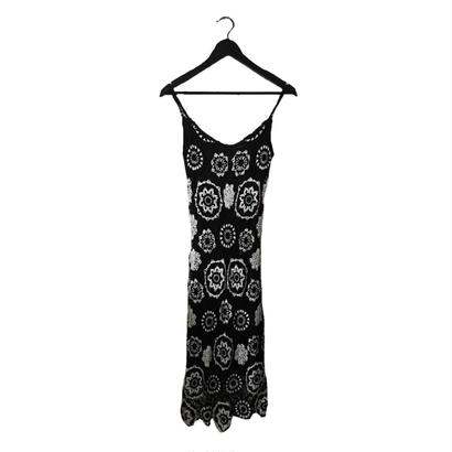 monotone flower crochet design one-piece