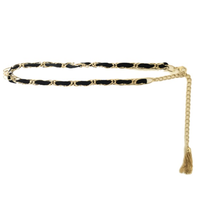 velours fringe chain belt