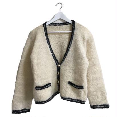 piping perl white knit cardigan