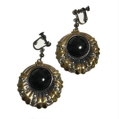 black stone swing earrings