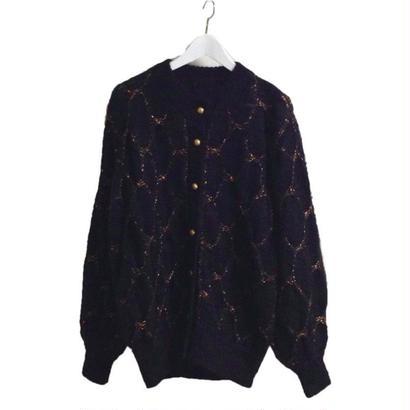 gold net knit cardigan black
