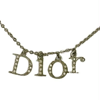 Dior rhinestone logo necklace