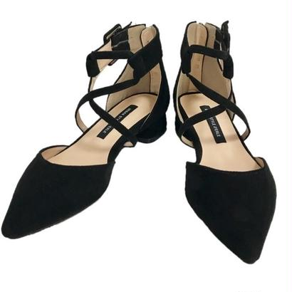 cross pointed toe shoes black