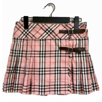 burberry check pleats mini skirt
