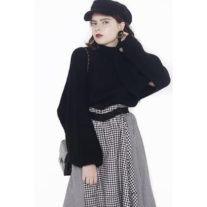 slit arm volume knit black
