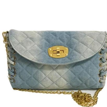 denim lace-up chain bag