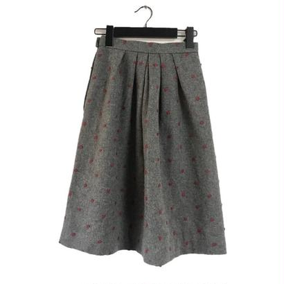dot wool skirt gray