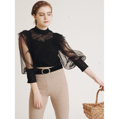 arm see-through lace blouse black