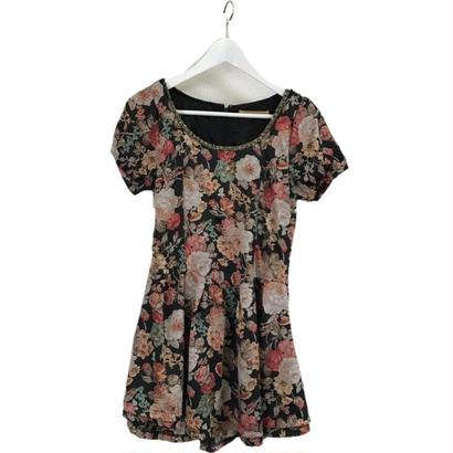 double skirt chic flower onepiece