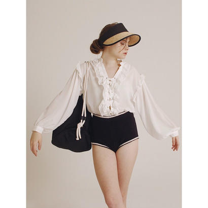 lace up frill blouse white