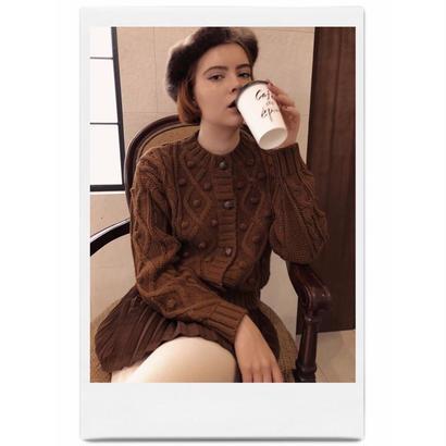 pom pom cable knit cardigan brown