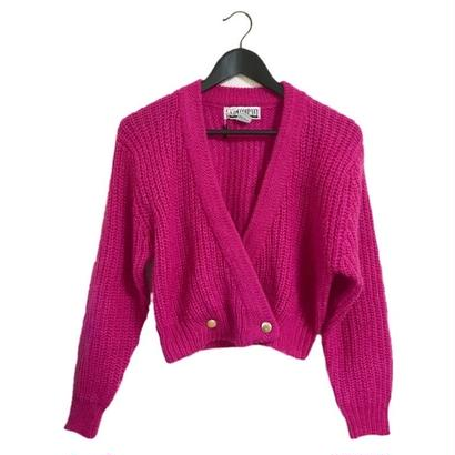 design knit cardigan pink