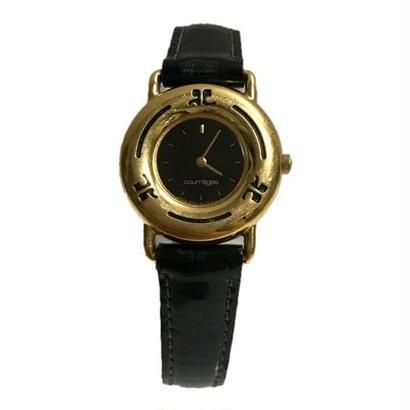 【スペシャルプライス】courrèges  black belt gold Watch