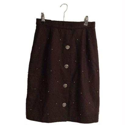 quilting stitch studs skirt  brown