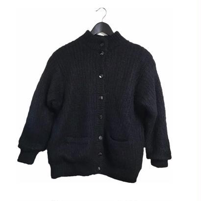 cable knit coat black