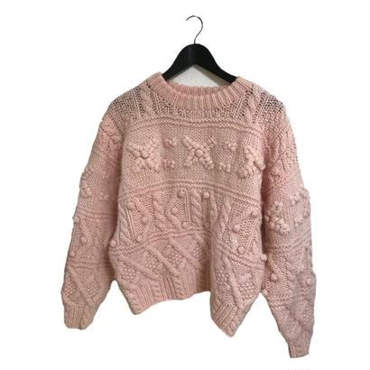 pon pon vintage knit milky pink