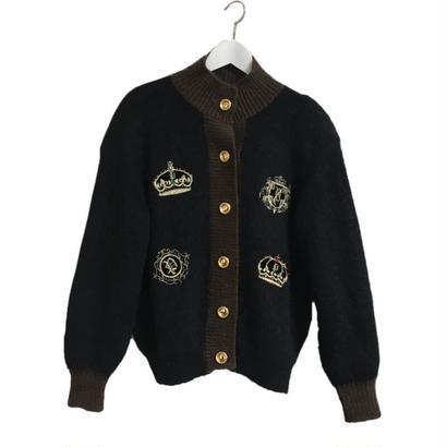 emblem design knit cardigan
