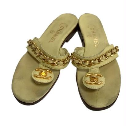 CHANEL coco buckle chain design sandal cream yellow