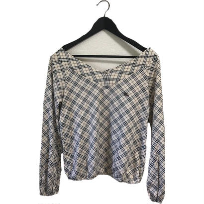 Burberry check V neck  tops