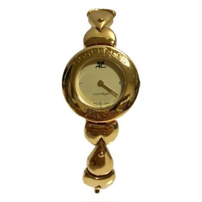 【スペシャルプライス】courreges line stone gold chain Watch