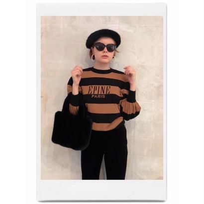 ÉPINE border arm volume knit black×brown