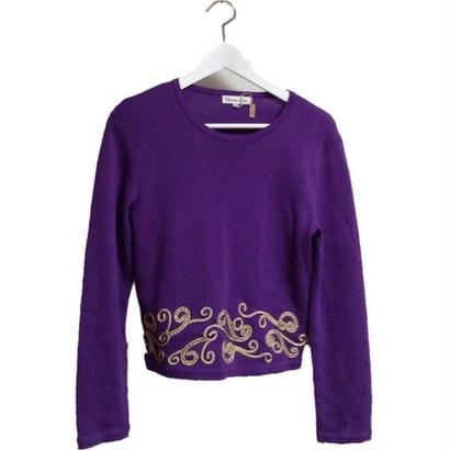 DIOR gold tape design purple knit