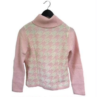 courrèges  check design turtle knit pink
