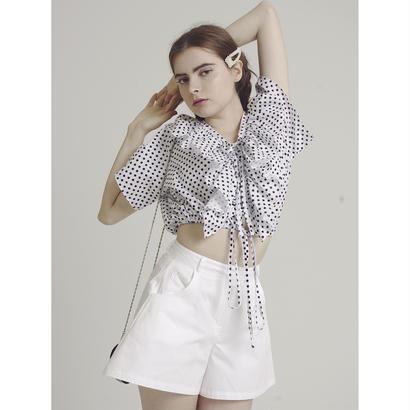 dot frill design blouse white