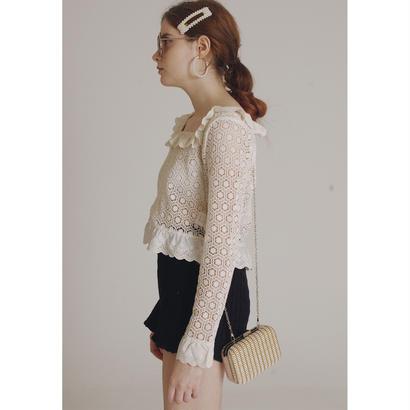 square neck frill lace blouse