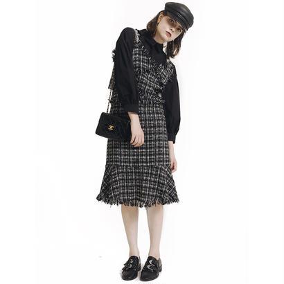 tweed  design camisole&skirt set up