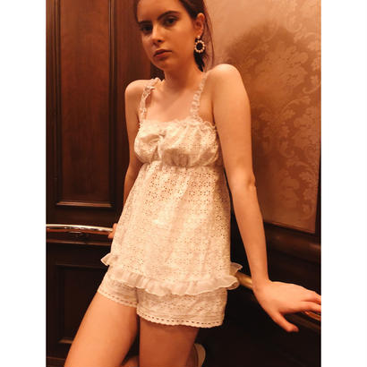 lace frill back ribbon tops white