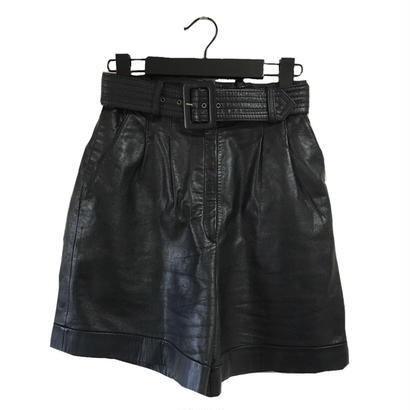 real leather short pants