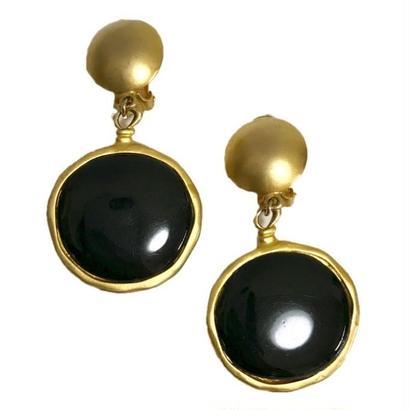 black stone design swing earrings