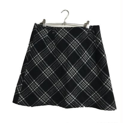 monotone  wool check skirt