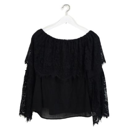 lace off shoulder blouse black
