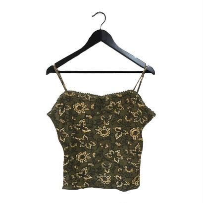 flower design thermal camisole khaki