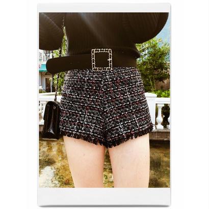 tweed fringe short pants black