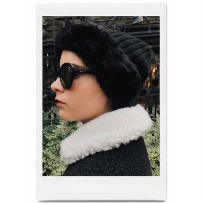 velours ribbon knit fur cap black