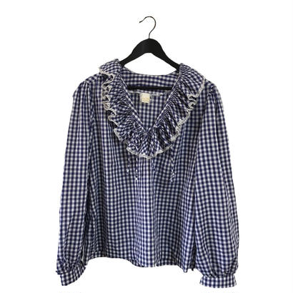 gingham check frill blouse