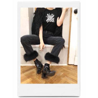 real fur denim black