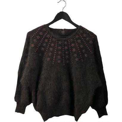 flower bijou design mohair  knit brown