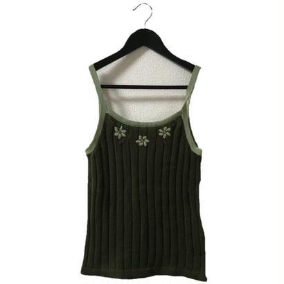 【スペシャルプライス】Flower design knit camisole green