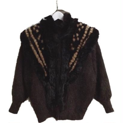 knit fur design coat brown