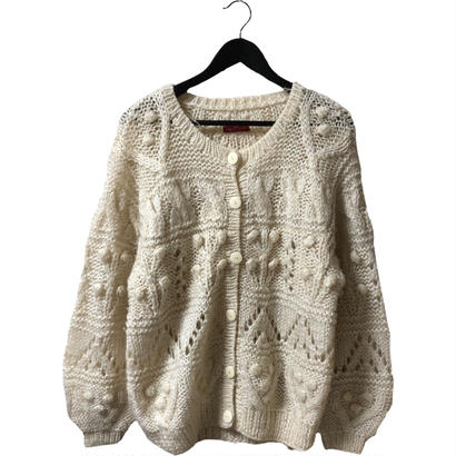 pon pon cable knit design cardigan