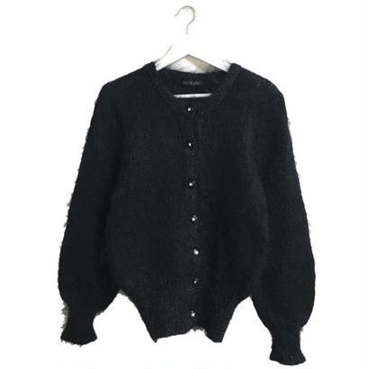 lamé design knit cardigan black