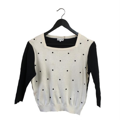 Dior dot square collar tops