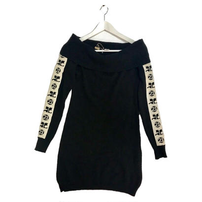 courreges side logo knit onepice