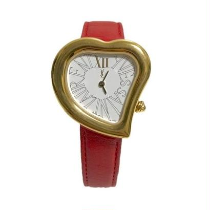 YSL heart motif watch red