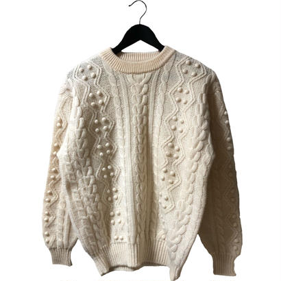 pon pon cable knit ivory